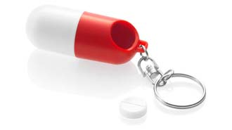 Pill case keychain White / Red
